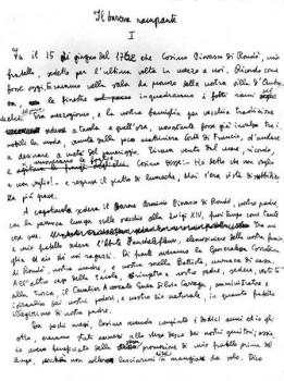 Première page manuscrite d'Il Baronne rampante