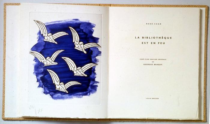 La bibliothèque en feu de René Char, gravure de G. Braque