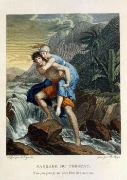 Paul et Virginie franchissant le torrent