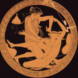 Détail (médaillon) : Thésée et le Minotaure