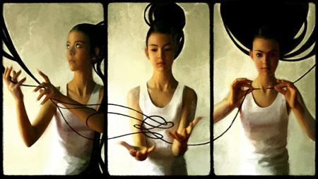 """""""Les Trois Parques"""" - (c) 2011 Cali Rezo - Peintures numériques - modèle Mina"""
