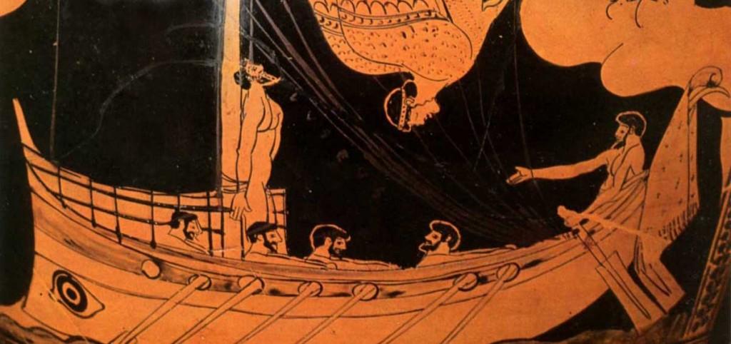 Ulysse et les sirènes (détail d'une poterie, 460-480 av. JC)