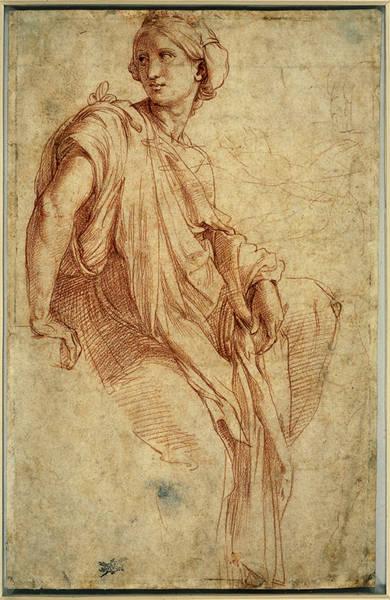 Raphaël (1483-1520), Étude de la sibylle phrygienne, 1511-1512, pour la peinture murale des quatre Sibylles, chapelle Santa Maria della Pace à Rome, Bristish Museum, Londres. © AKG Images/Erich Lessing.