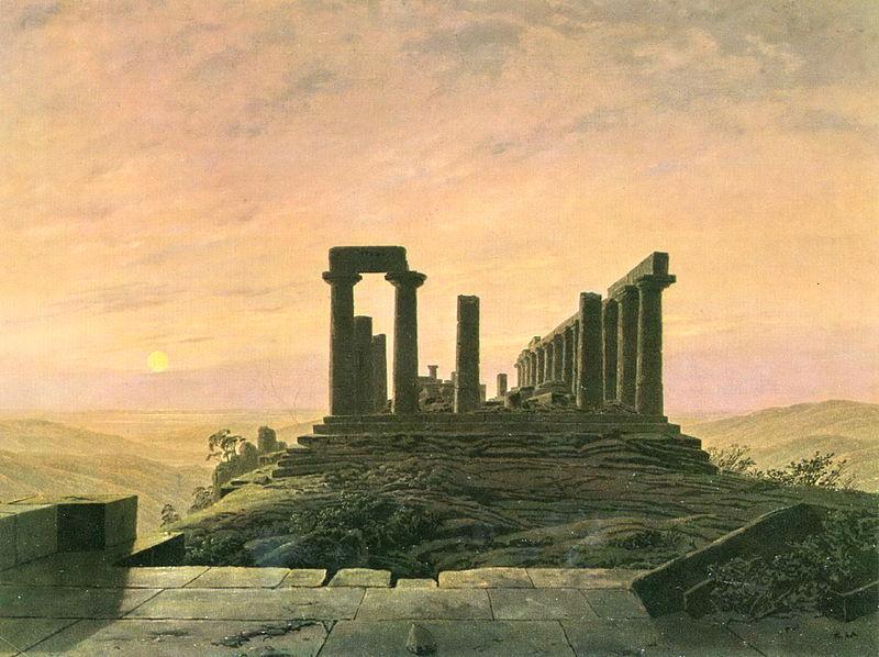 Temple de Junon à Agrigente, Caspar Friedrich, Huile sur toile, Museum am Ostwall, Dortmund