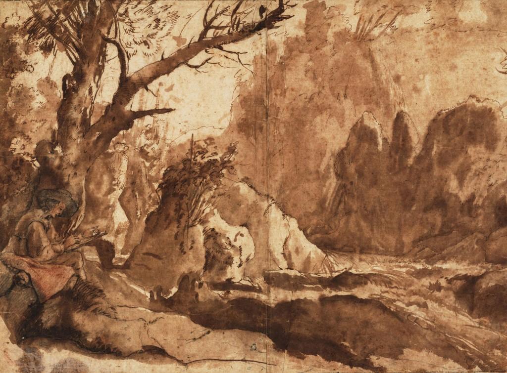 Claude Gellée, dit le Lorrain (1600 ou 1604/1605 – 1682) Vers 1635 Graphite, sanguine et pierre noire, plume et pinceau et encre brune - 26,4 cm x 35,7 cm - Haarlem, musée Teyler, inv. L 44 - Acquis par la Fondation Teyler en 1790. © Haarlem, Teylers Museum